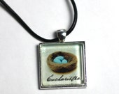 Eucharisteo Bird's Nest Glass Pendant in Silver Tray with Black Leather Cord