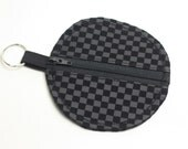 Earbud Keychain Pouch Case Black Check