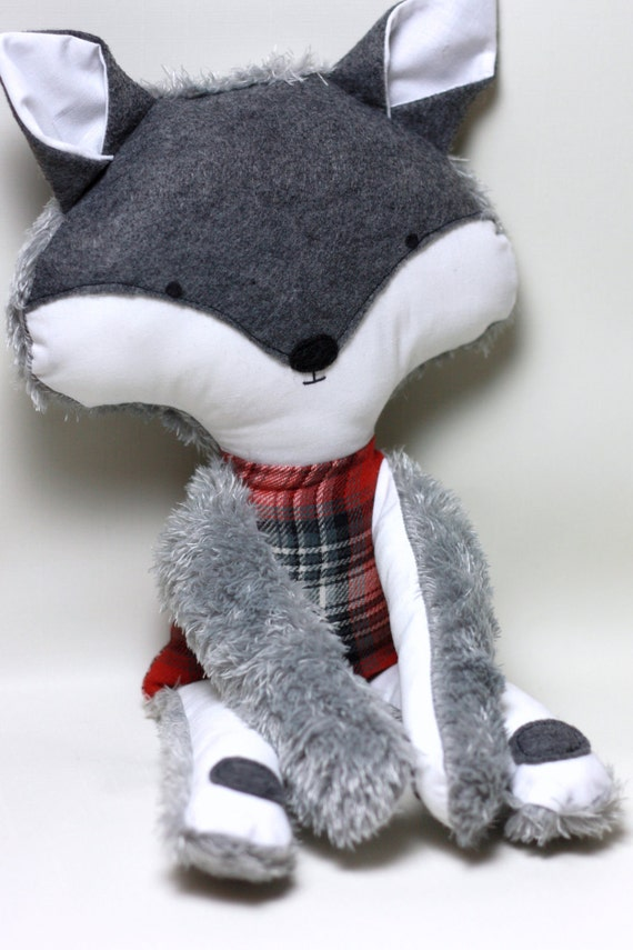 Soft Cloth Doll - Grey and White Wolf with Red Plaid body