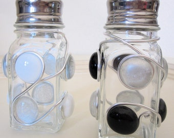 Black and White Beaded Salt and Pepper Shakers