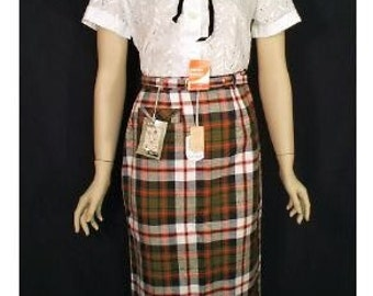 Preppy Olive Green Plaid Vintage 1950's New Old Stock Pencil Skirt XS