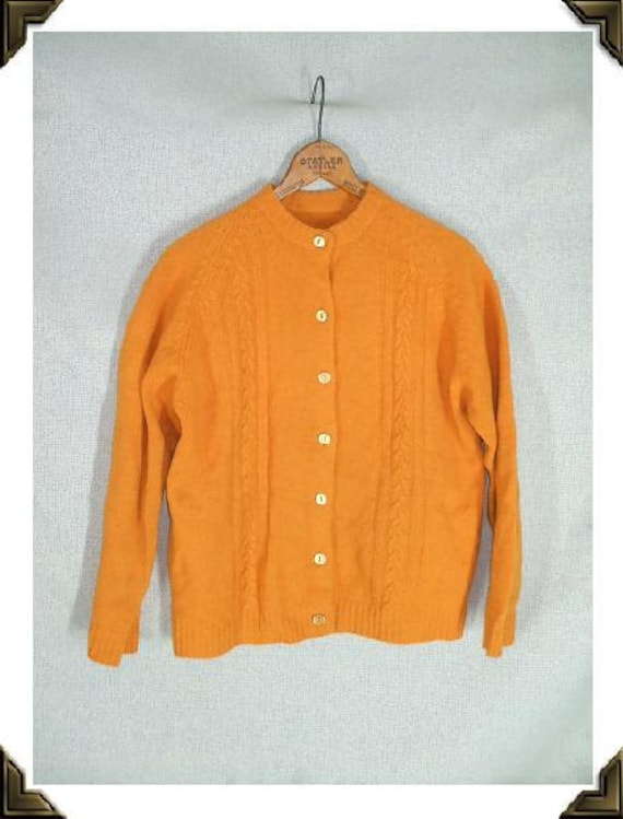 Mustard Yellow Wool Cable Knit Vintage 1950's Cardigan Sweater M L