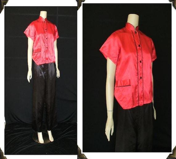 Red & Black Rayon Asian Themed Vintage 1940's WWII PJ Set Pajamas M