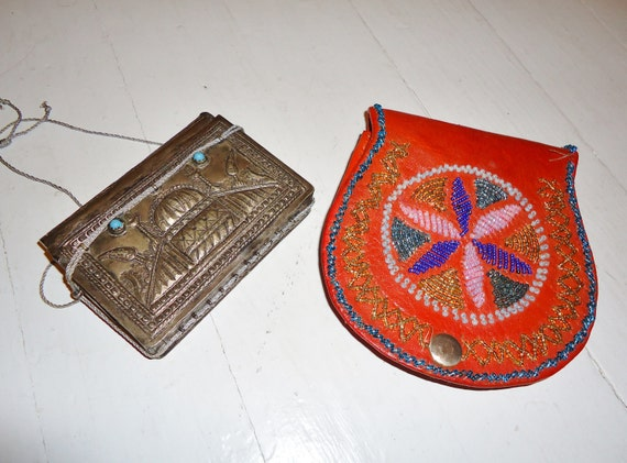TWO Vintage Ethnic Vintage 1950's 1960's Small PURSES Clutch