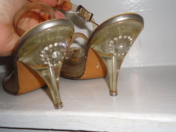 Clear Lucite & Rhinestone Heel Vintage 1950's Womens Pumps 8.5