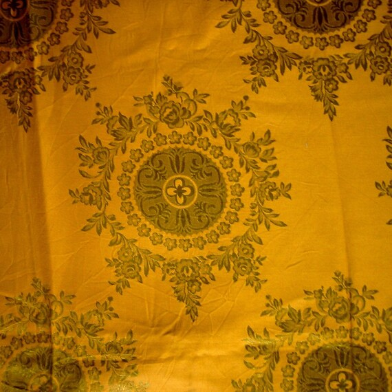 Vintage gold fabric curtain panel