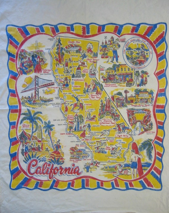 Vintage fabric California map