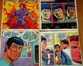 Star Trek Comic Wall Art or Ceramic Tile Coaster Set of 4