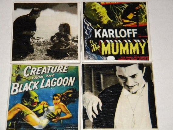 Old Horror Films Ceramic Tile Coaster Set of 4 Free Shipping in the USA