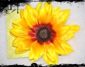 Celebrate Kansas with a Large Silky Shades of Yellow Sunflower Hair Clip
