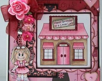 Happy Birthday to a Little Lady - Handmade Birthday Card - Girl - Pink - Black - Hearts