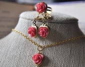 Coral Pink Rose Locket Jewelry Gift Set Includes Earrings Matching Ring Vintage Heart Lockets - Bohemian Chic - Black Friday
