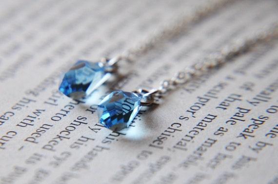 Blue Crystal Earrings - Sterling Silver -  December Birthstone - Winter Wonderland - April Showers Bring May Flowers