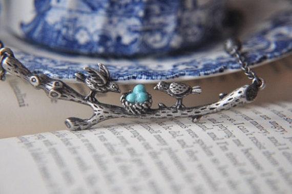 Silver Branch Necklace - Love birds nest - Nest Necklace - Antique Silver Necklace - Turquoise And Silver - Gift Wrapped