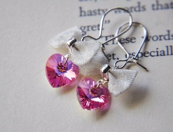 Sterling Silver Pink Crystal Heart Earrings - Valentines Day Jewelry - Love - Romantic - Sweet Sixteen - Birthday Mothers Day