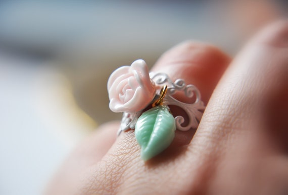 Pastel Pink and Minty Sea Foam Green Leaf and Flower - White Filigree Adjustable Ring