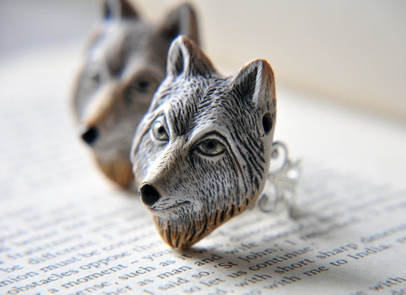 Wolf ring, Gray Wolf Ring, Animal Ring, Woodland Ring, Silver Ring, Spirit Animal Ring, Woodland Forest Ring