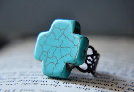 Turquoise Cross Stone - Howlite - Filigree Adjustable Ring - Antique Brass