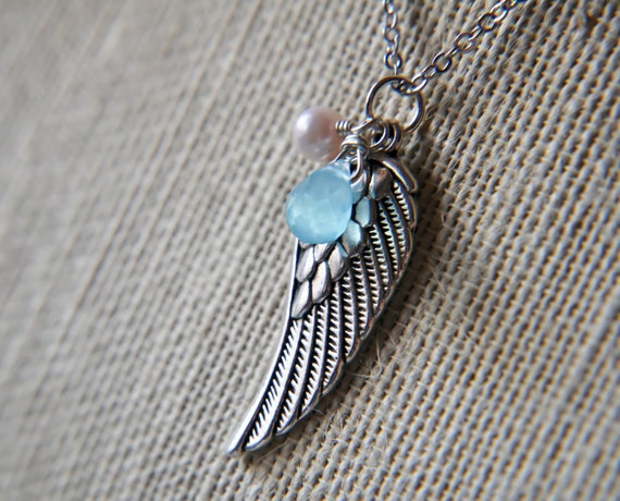 Angel Wing Silver Charm Necklace - wire wrapped briolette topaz blue quartz glass - Black Friday
