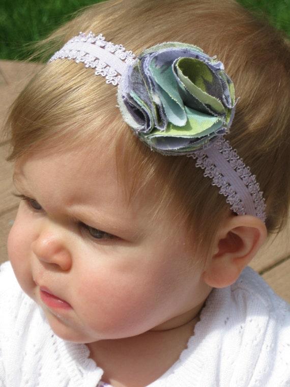 SALE  Baby Girl Headband -Purple, Pom Pom, Elastic Lace Headband