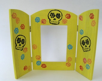 Skully Colorful  Frame Nicho Altar Shrine