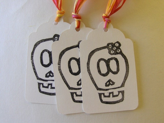 Set of 10 Little Miss Skully Hand Stamp Tags
