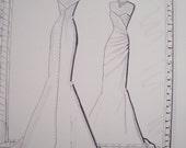 "Custom ""MIrror Image""  9"" x 12"" Wedding Dress/ Special Occasion Portrait sketch/illustration"