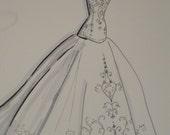 "Your Wedding Dress/Special Occasion Custom Sketch Illustration  9"" x 12"""