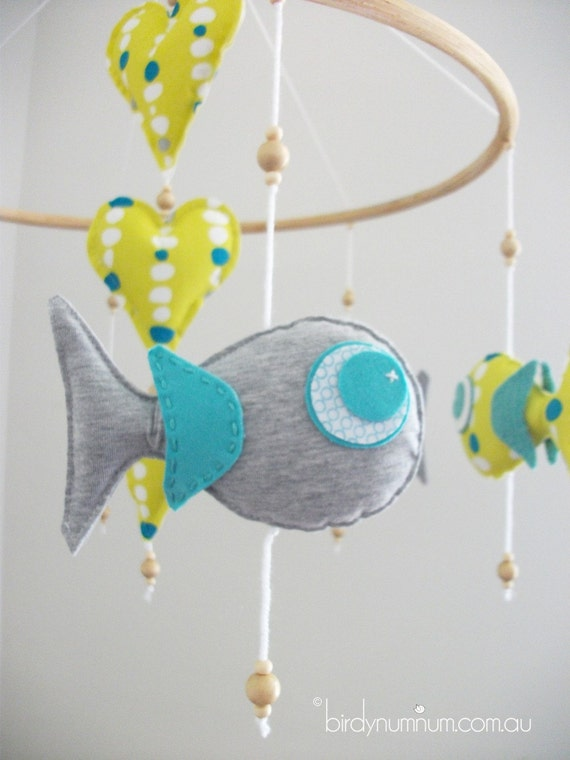 Under the Sea - Fish Mobile in Citron Yellow, Marle Grey & Turquoise (medium/ready to ship)