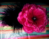 HOT PINK HAIR FLOWER ready to ship
