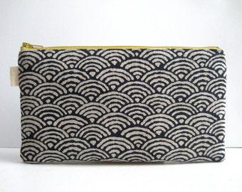 Seigaiha Indigo Print. Pencil Case, Pencil Pouch. Traditional Japanese fabric print. Navy blue, Zen, Japanese Waves. Zipper Pouch.