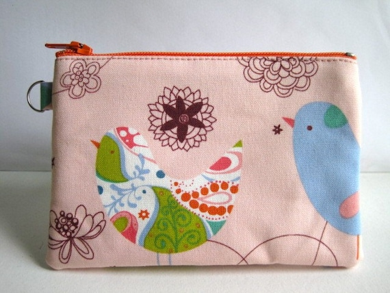 Coin Purse, Pencil Case, Pouch, Business Card Holder. Pink Starling by Alexander Henry. Made-to-order.