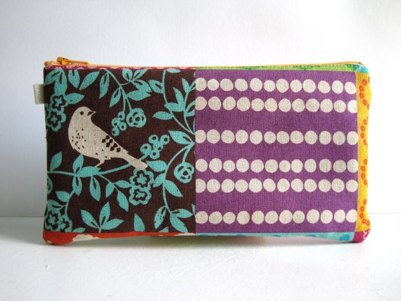 Echino Story Patchwork. Japanese Fabric. Fabric Pencil Case, Pencil Pouch.