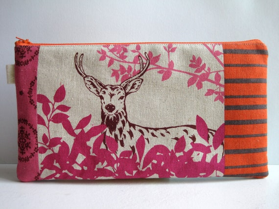 Echino Forest Patchwork in Pink. Large Fabric Pencil Case, Pencil Pouch, Clutch, Purse.