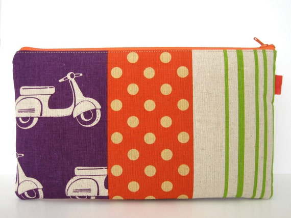 Echino Purple Scooters. Fabric Pencil Case, Pencil Pouch, Clutch, Pouch.
