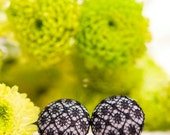 NEW Cute Fabric Button Earrings - Grey with Black Lace