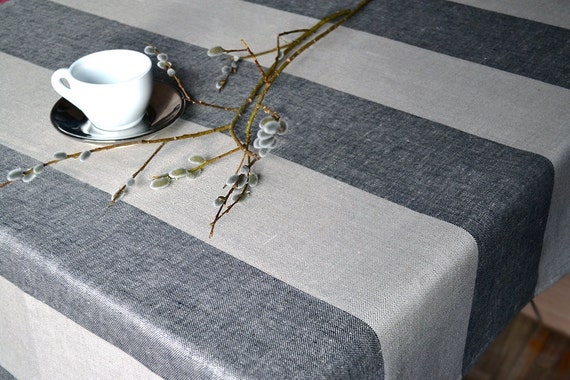 Striped Linen Tablecloth  Natural and Black