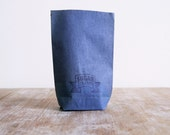 3 Vintage blue half pound sugar shop or grocer paper goods pouches or bags