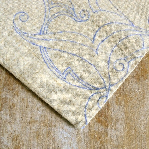 Vintage linen napkin, table runner / cloth or just fabric with embroidery transfers to embroider