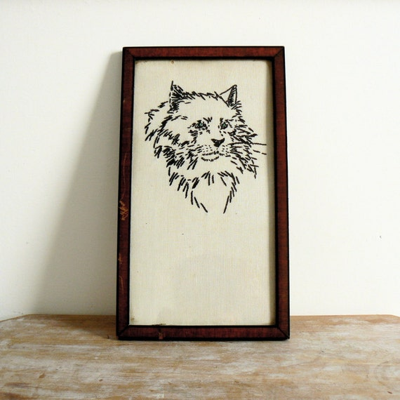 Vintage framed fabric embroidery of a cat from the 30's wall picture