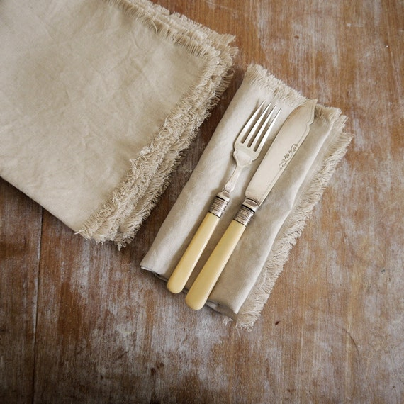Set of 6 100% linen frayed edge napkins creamy oatmeal / putty colour color