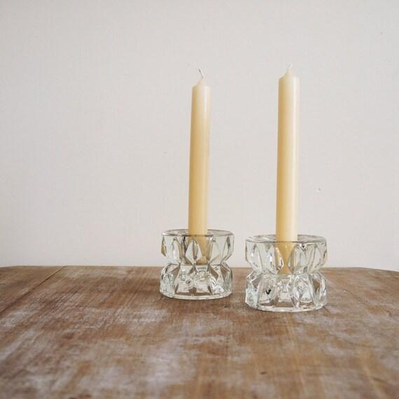 SALE/// Chunky vintage glass candle holders or cruet set geometric pattern