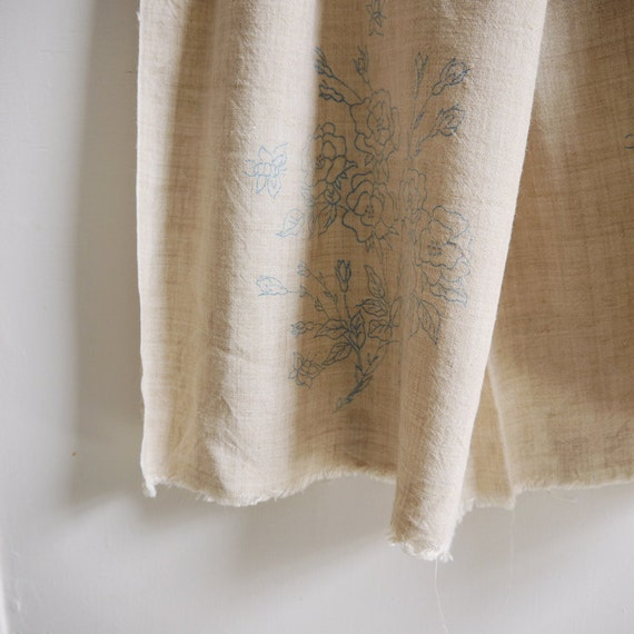 Vintage embroidery  linen with design marked out or ideal for small curtain in oatmeal