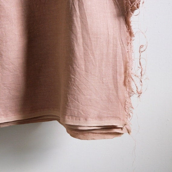 100% pure linen fabric plain colour dusty peach pink washed by the yard for sewing