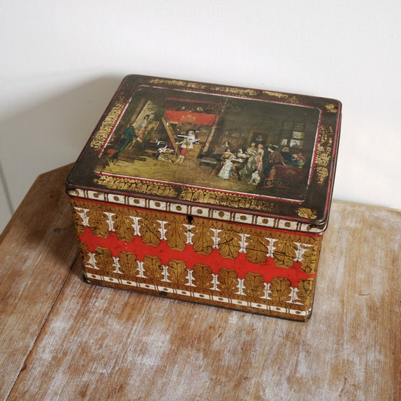 Large vintage Victoria biscuit tin metal box for storage painting regal feather design