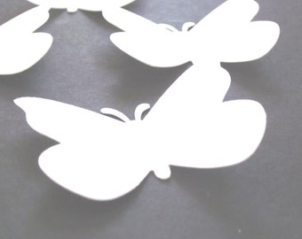 50 Large White  Butterfly  die cuts