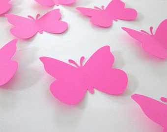 50 Large Hot Pink  Butterfly  die cuts
