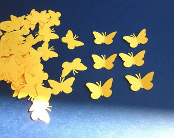 100 Yellow  Butterfly  Die Cuts