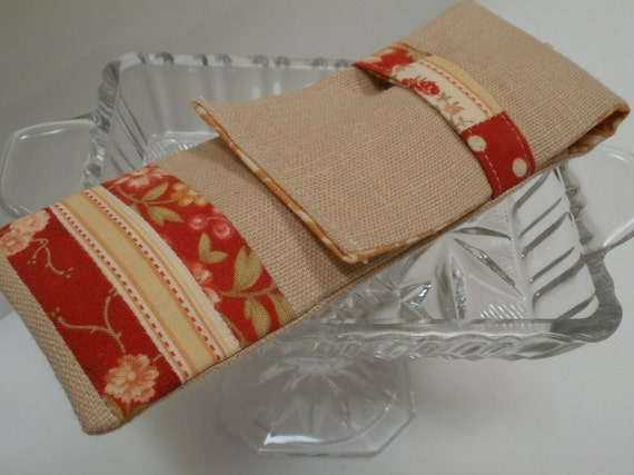 Linen Zakka Pencil Case or Crochet Hook Case - Patisserie in Caramel and Berry