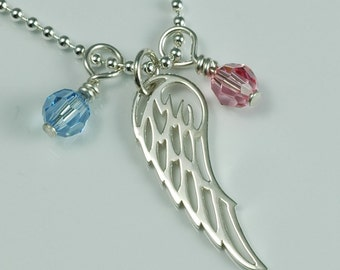 Angel Wings Remembrance Pendant Necklace - Sterling Silver